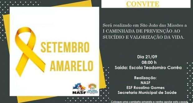Secretaria Municipal de Saúde de São João das Missões convida a população missionense para participar da I Caminhada de Prevenção ao Suicídio e Valorização da Vida