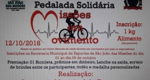 Pedalada Solidária, Missões em Movimento será realizada no município